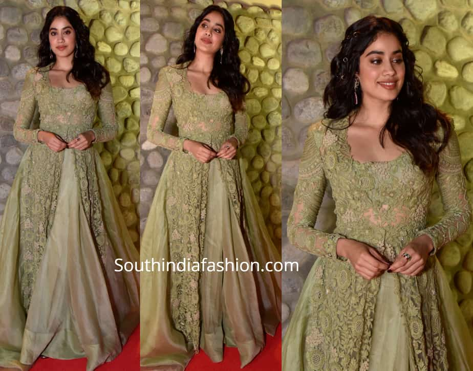 janhvi kapoor green dress filmfare