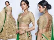 janhci kapoor gold lehenga backless blouse akash ambani reception