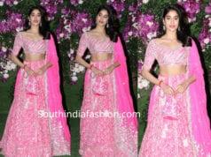 jahnvi kapoor in pink manish malhotra lehenga at akash ambani shloka mehta wedding