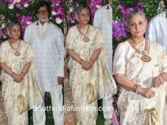 jaya bachchan white silk saree at akash ambani wedding