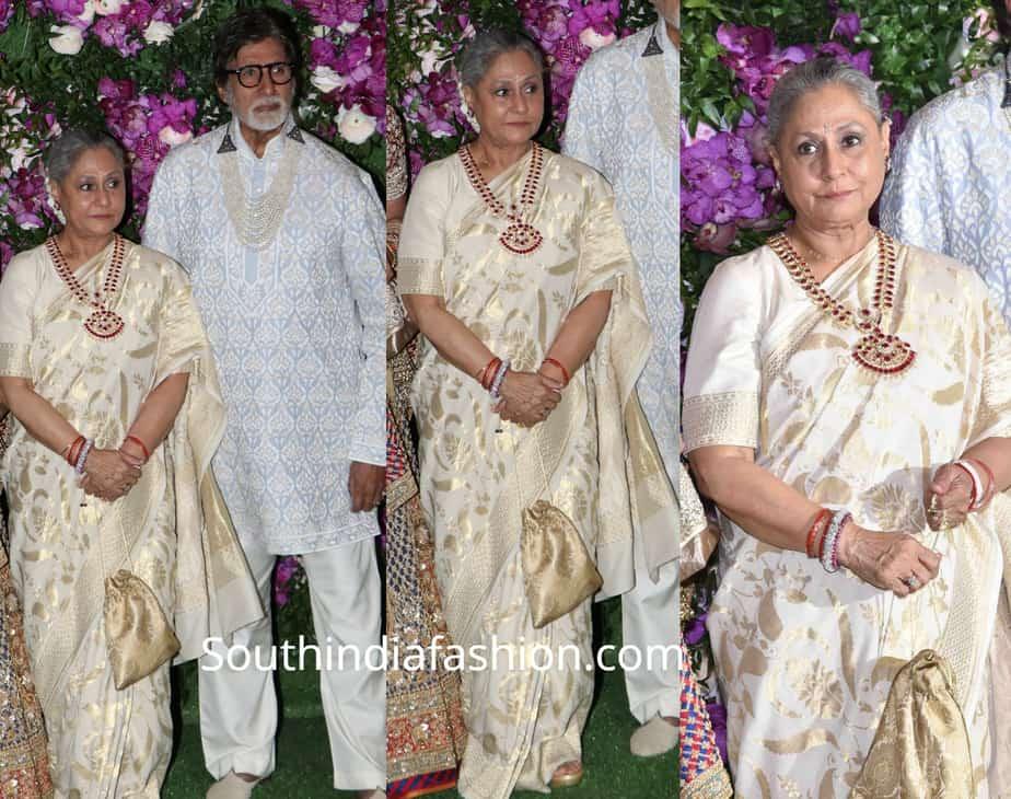 jaya bachchan white silk saree at akash ambani wedding