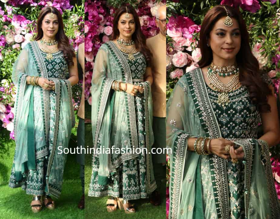 juhi chawla green anarkali at akash amabni wedding