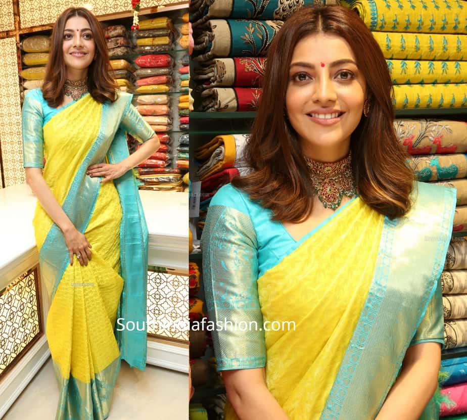 kajal aggarwal in yellow silk saree at mangalya shopping mall launch