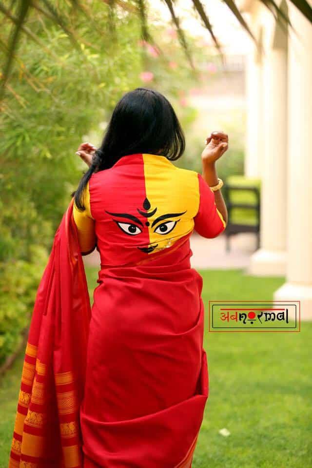 saree blouse with kanaka durga design