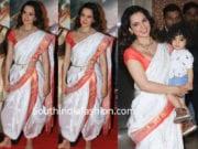 kangana ranaut in white paithani saree at manikarnika success party