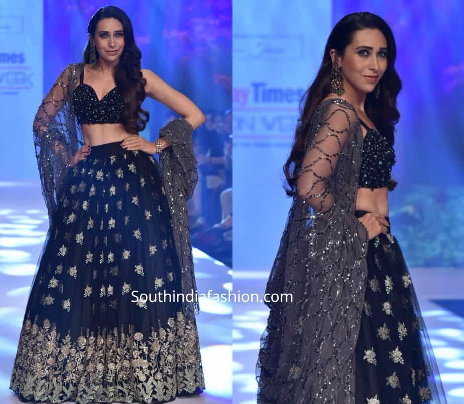 karisma kapoor in black lehenga at bombay times fashion week