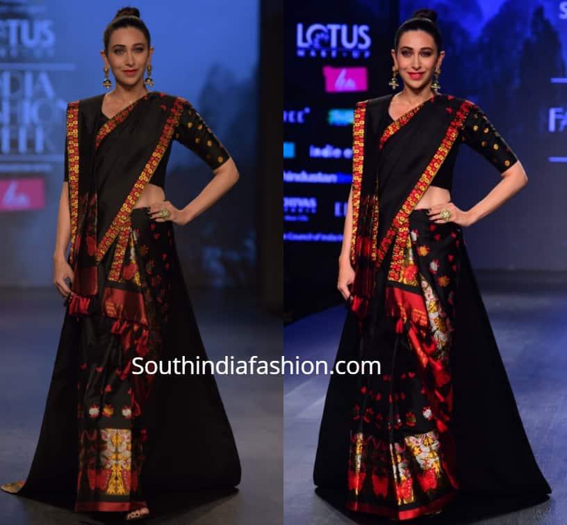 karisma kapoor black mekhela chador , lotus india fashion week