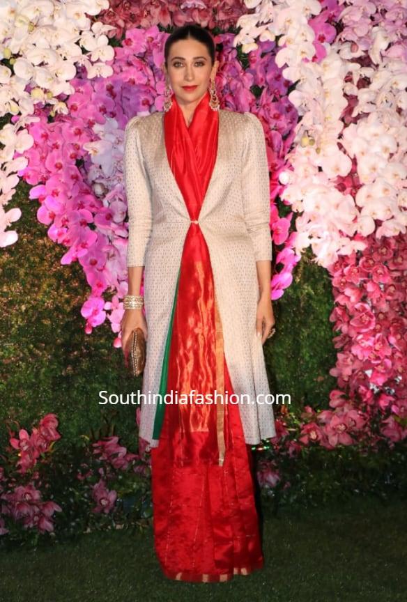 karisma kapoor red saree with jacket