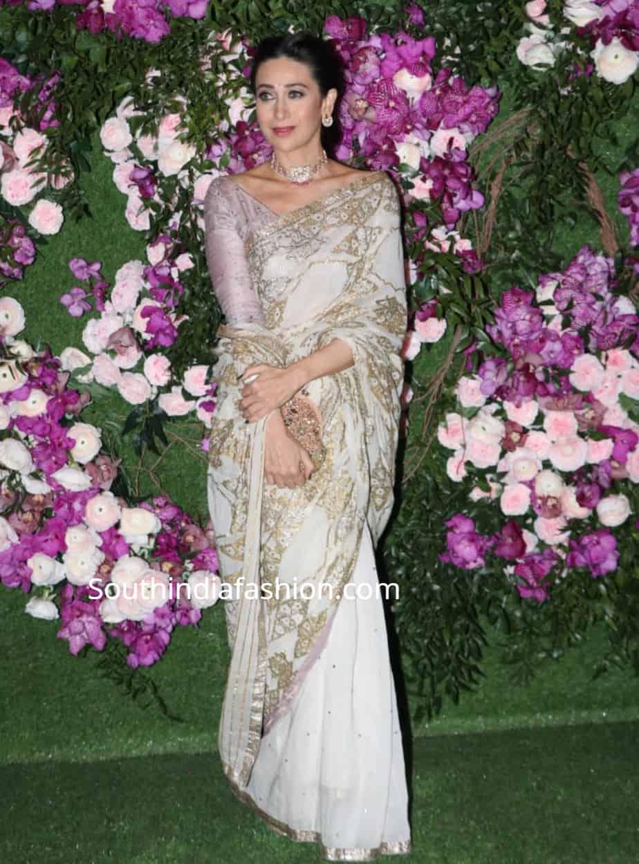karisma kapoor in white saree at akash ambani wedding