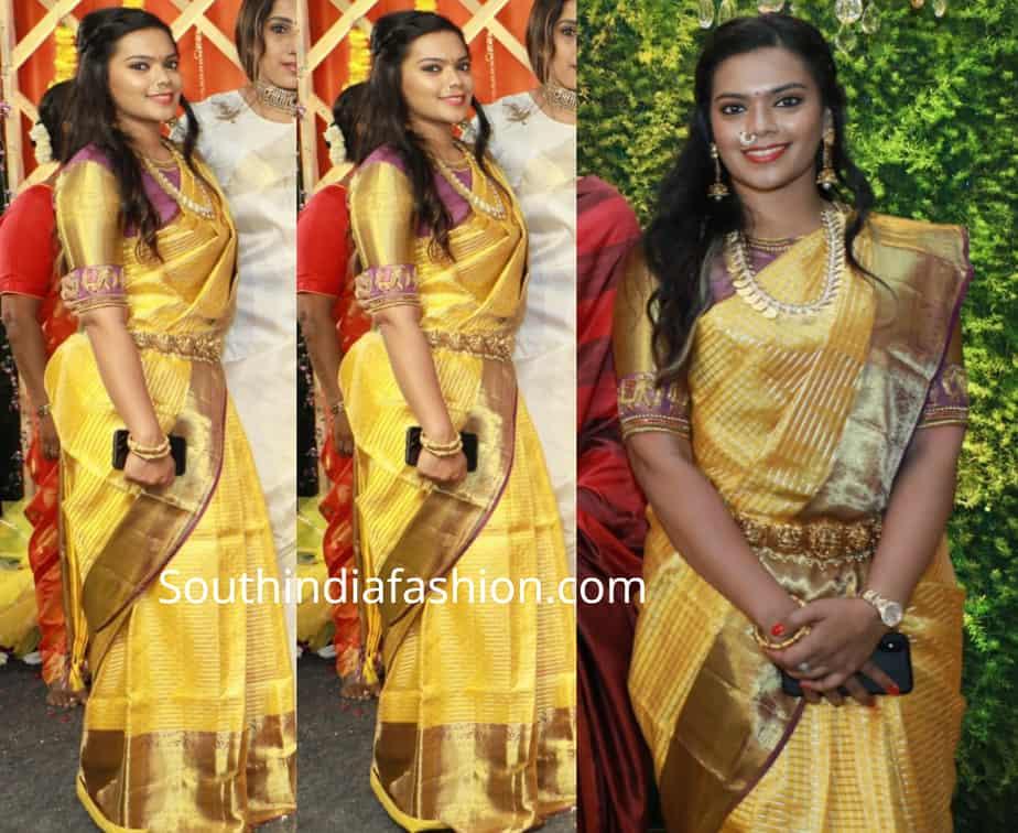 keerthana parthiban silk saree at abhinaya wedding
