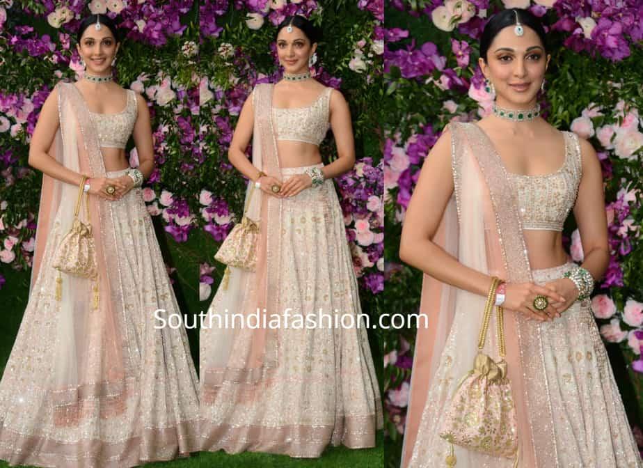 kiara advani lehenga at akash ambani shloka mehta wedding