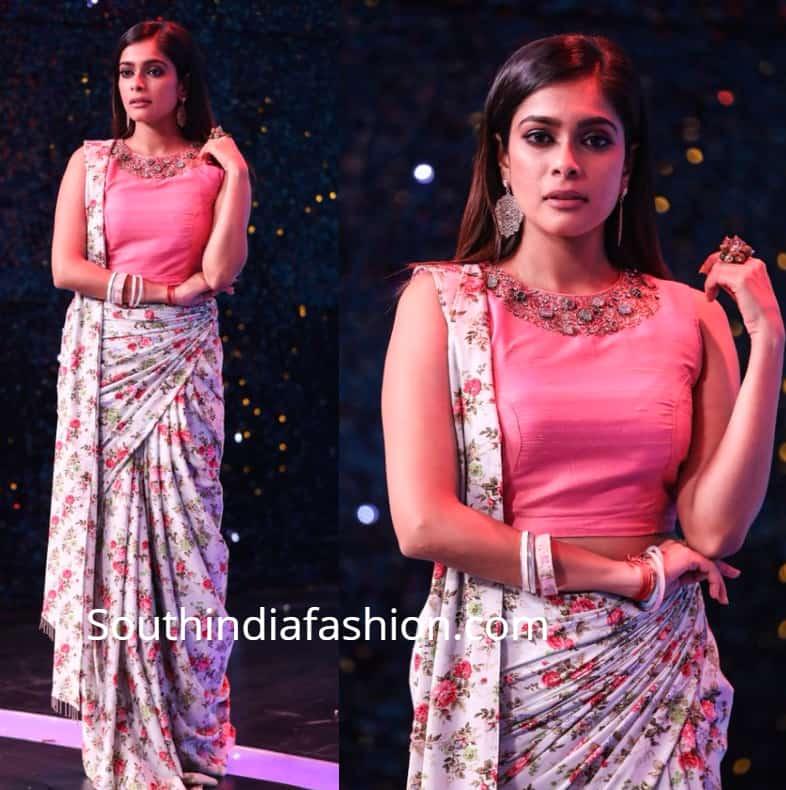 keerthi shanthanu kiki vijay in floral saree