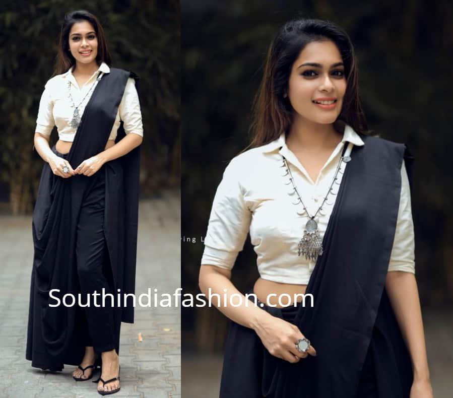 anchor keerthi shantanu in fusion sarees