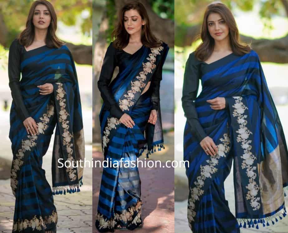 kajal aggarwal blue saree black full sleeves blouse