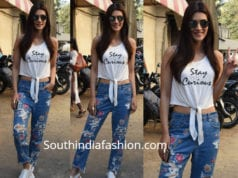 kriti sanon floral embroidered jeans