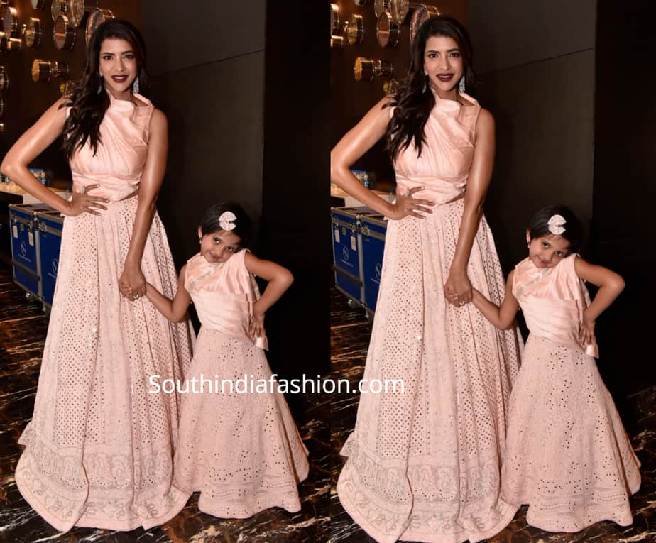 lakshmi manchu and her daughter in matching dresses