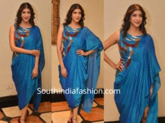 lakshmi manchu in blue dhoti saree