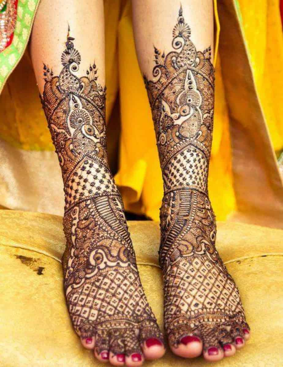 bridal mehndi designs for legs