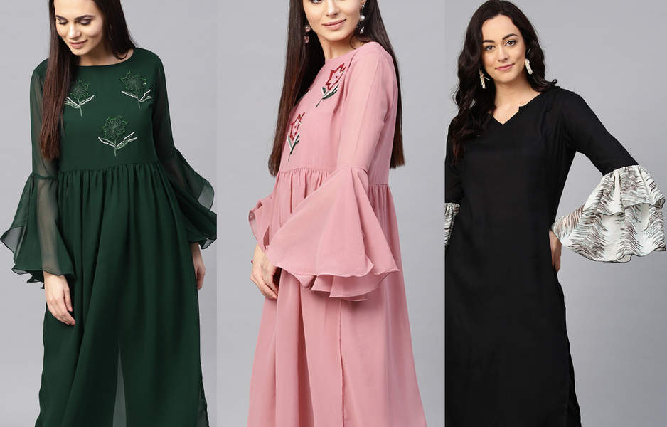 long bell sleeves for kurti