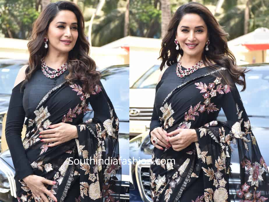 madhuri dixit black saree cold shoulder blouse