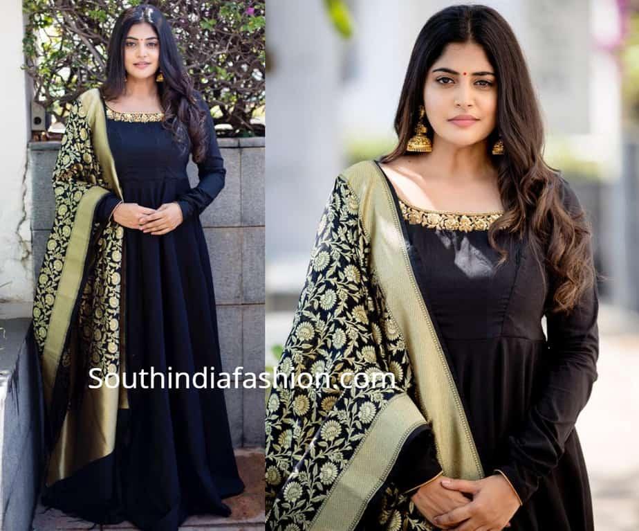 manjima mohan black dress with banarasi dupatta