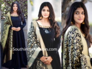 manjima mohan black dress with banarasi dupatta