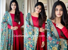 manjima mohan red anarkali with kalamkari dupatta