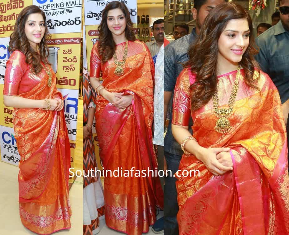 mehreen pirzada kanjivaram saree at cmr shopping mall