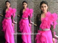 mouni roy in pink ruffle saree