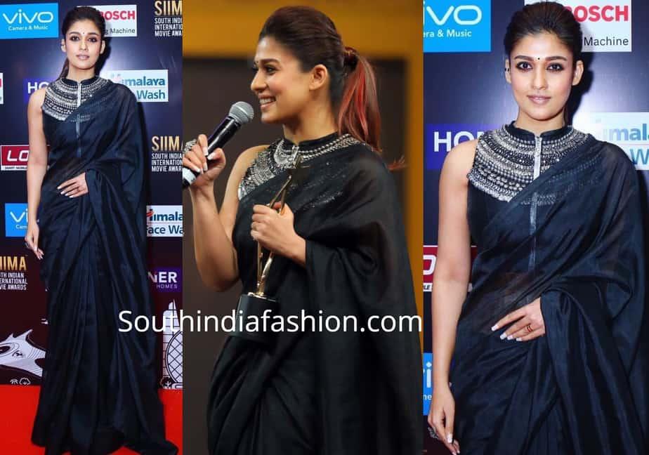 nayanthara saree plain black saree with high neck designer blouse
