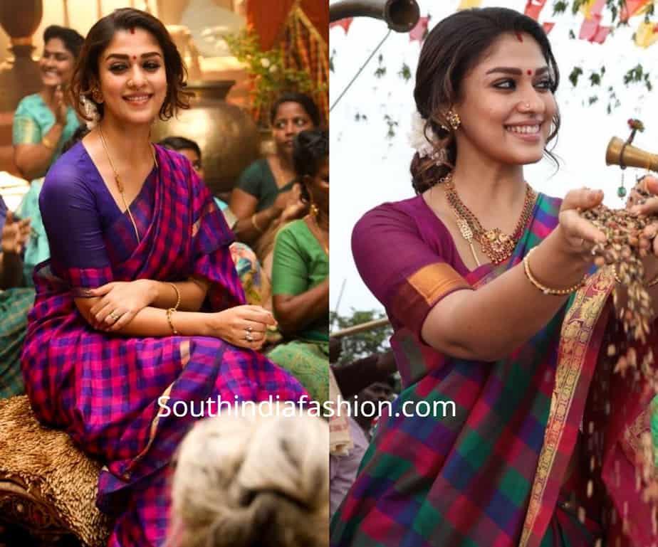 nayanthara checks sarees in visvasam