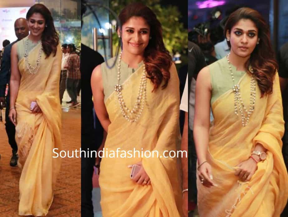 nayanthara saree yellow linen saree