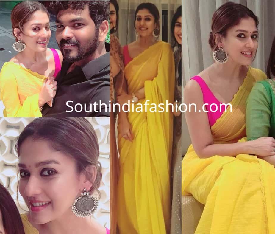nayanthara in yellow saree pink blouse for diwali