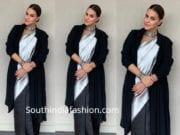 neha dhupia in saree with shrug