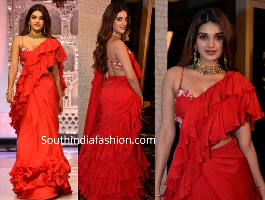 nidhii agerwal red ruffle saree at teach for change