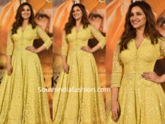 parinteei chopra in yellow anarkali at kesari press meet