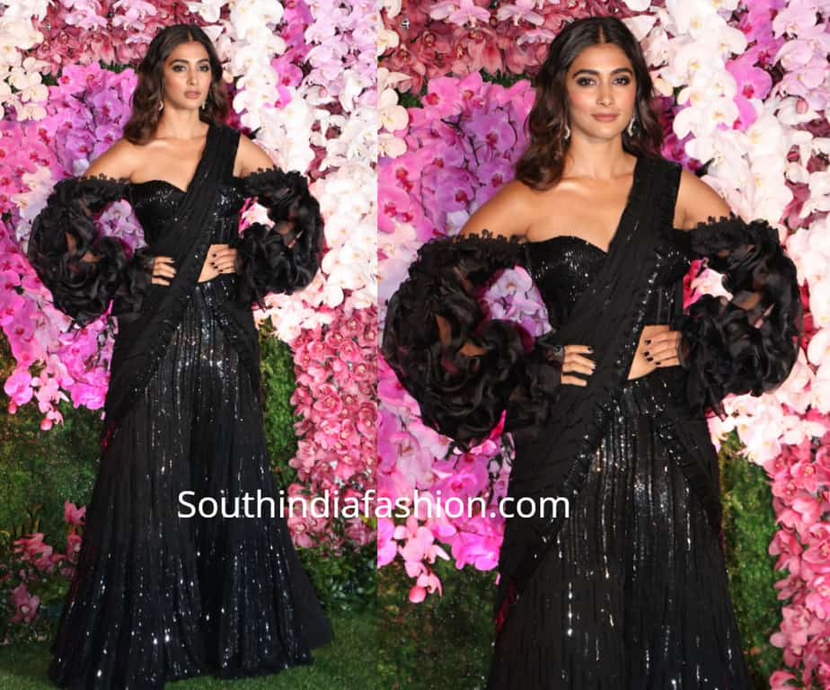 pooja hegde black lehenga at akash ambani reception