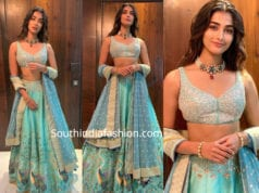 pooja hegde in a blue lehenga at akash ambani wedding