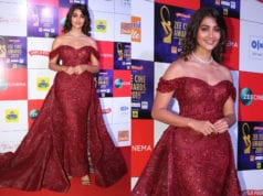 pooja hegde in maroon gown at zee cine awards 2019