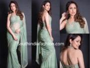 pragya jaiswal sea green saree with halter neck blouse