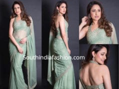 pragya jaiswal sea green saree with halter neck blouse