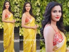 priya anand yellow chanderi saree with red brocade blouse