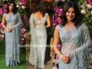 priyanka chopra in blue lace saree at akash ambani and shloka mehta wedding