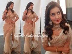 raashi khanna in cream color saree at techofes awards 2019