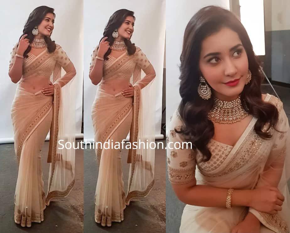 raashi khanna in cream color saree at techofes awards 2019