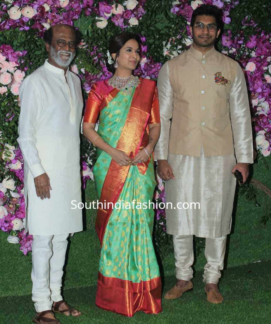 rajinikanth, soundarya and vishagan at akash ambani wedding