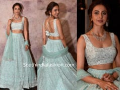 rakul preet singh in blue lehenga at teach for change