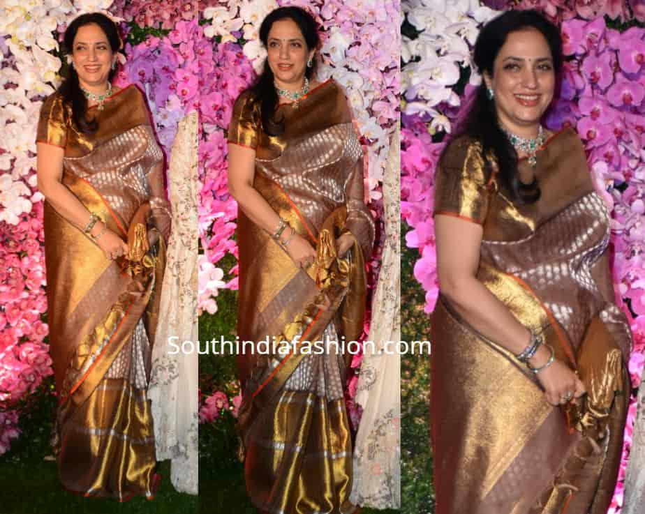 rashmi thackeray in kanjivaram saree at akash ambani wedding