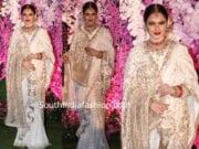rekha white saree at akash ambani wedding