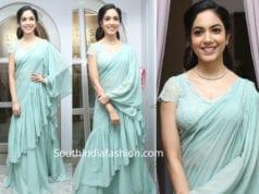 ritu varma in a blue ruffle sarees